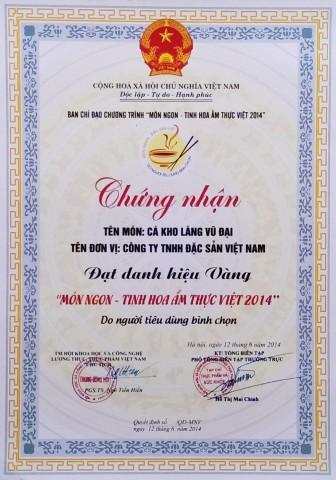 Cá kho làng Vũ Đại đạt giải vàng Món ngon tinh hoa ẩm thực Việt 2014