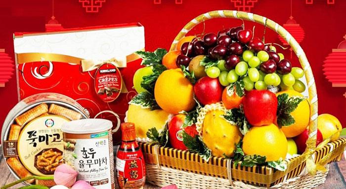 Giỏ hoa quả Tết đẹp mắt